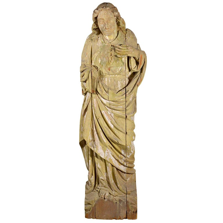 Large Statue Hand Carved in Wood For Sale