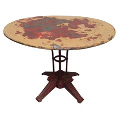 Large Steel Garden Table, Bistro Table on Cast Iron Base