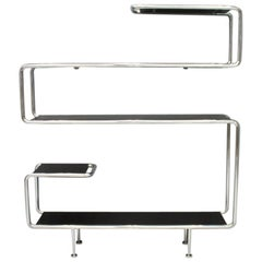 Large Steel Tube Shelf Sideboard Etagere in Chrome and Black
