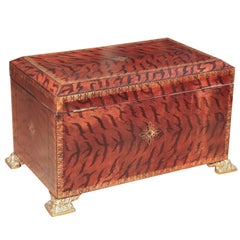 Large Stenciled and Embossed Animal Print Leather Box