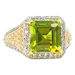 Large Step Cut Burmese Peridot Diamond Cocktail Ring Platinum Rose Gold Filigree
