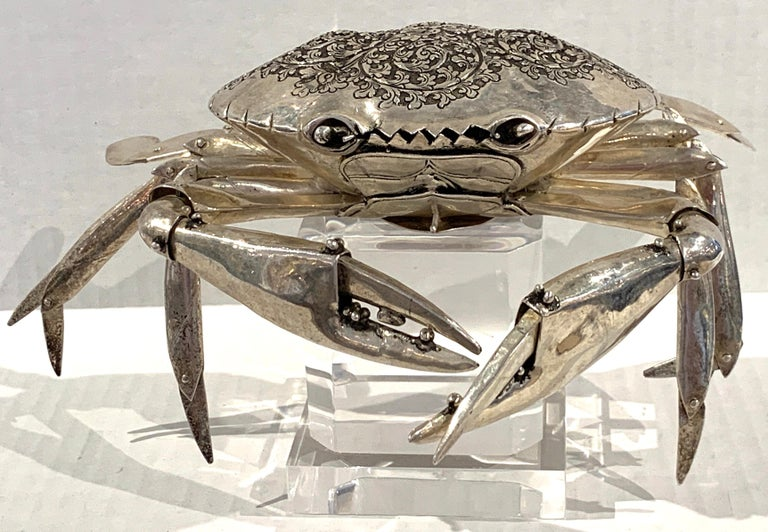 Large Sterling Articulated Model/ Spice Box of a Crab