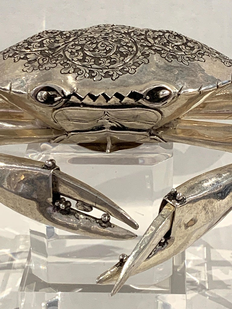 Large Sterling Articulated Model/ Spice Box of a Crab For Sale 5