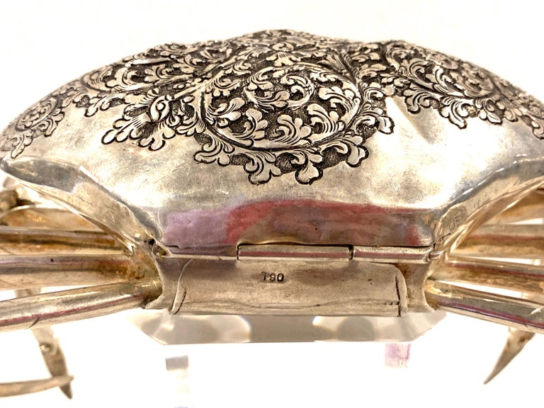 Large Sterling Articulated Model/ Spice Box of a Crab For Sale 6