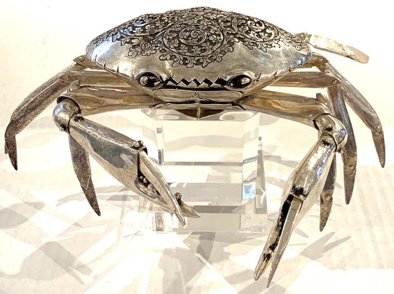 Large Sterling Articulated Model/ Spice Box of a Crab For Sale 8