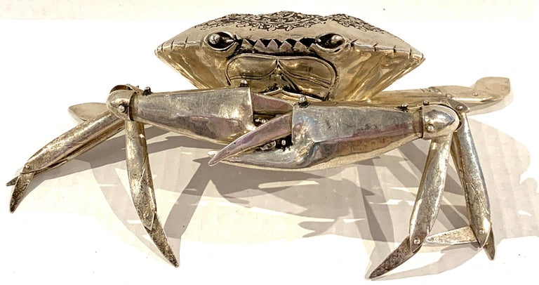 Asian Large Sterling Articulated Model/ Spice Box of a Crab For Sale
