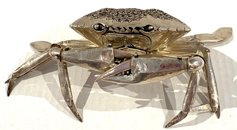 20th Century Large Sterling Articulated Model/ Spice Box of a Crab For Sale