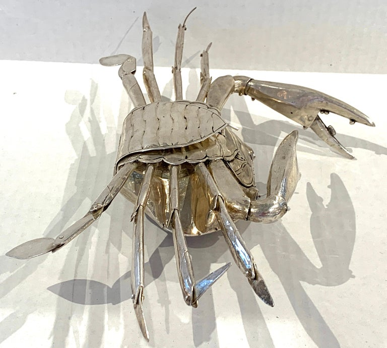 Sterling Silver Large Sterling Articulated Model/ Spice Box of a Crab For Sale