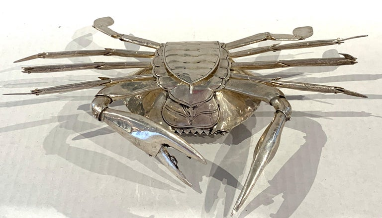 Large Sterling Articulated Model/ Spice Box of a Crab For Sale 1