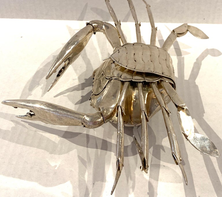 Large Sterling Articulated Model/ Spice Box of a Crab For Sale 2