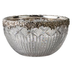 Large Sterling Silver and Brilliant Glass Bowl, Gorham, circa 1900