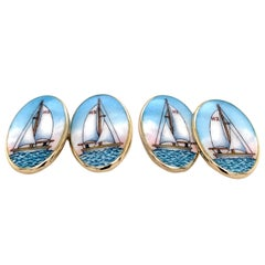 Large Sterling Silver and Enamel Sailboat Cufflinks