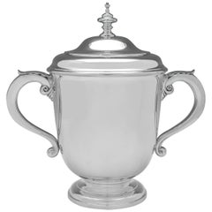 Large Sterling Silver Art Deco Trophy Made in 1935 by Mappin & Webb