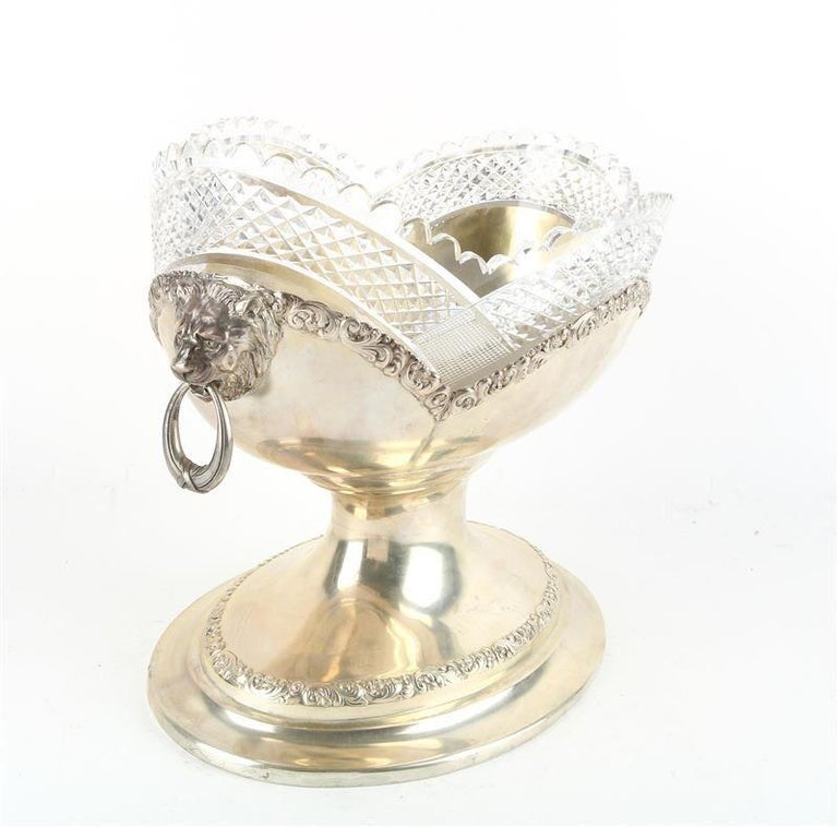 Early 20th Century Large Sterling Silver Centerpiece Bowl with Glass, Germany, circa 1900 For Sale