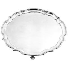 Large Sterling Silver Chippendale Salver 1959 Waiter Tray Platter Solid