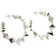 Large Sterling Silver Folded Triangle Hoops