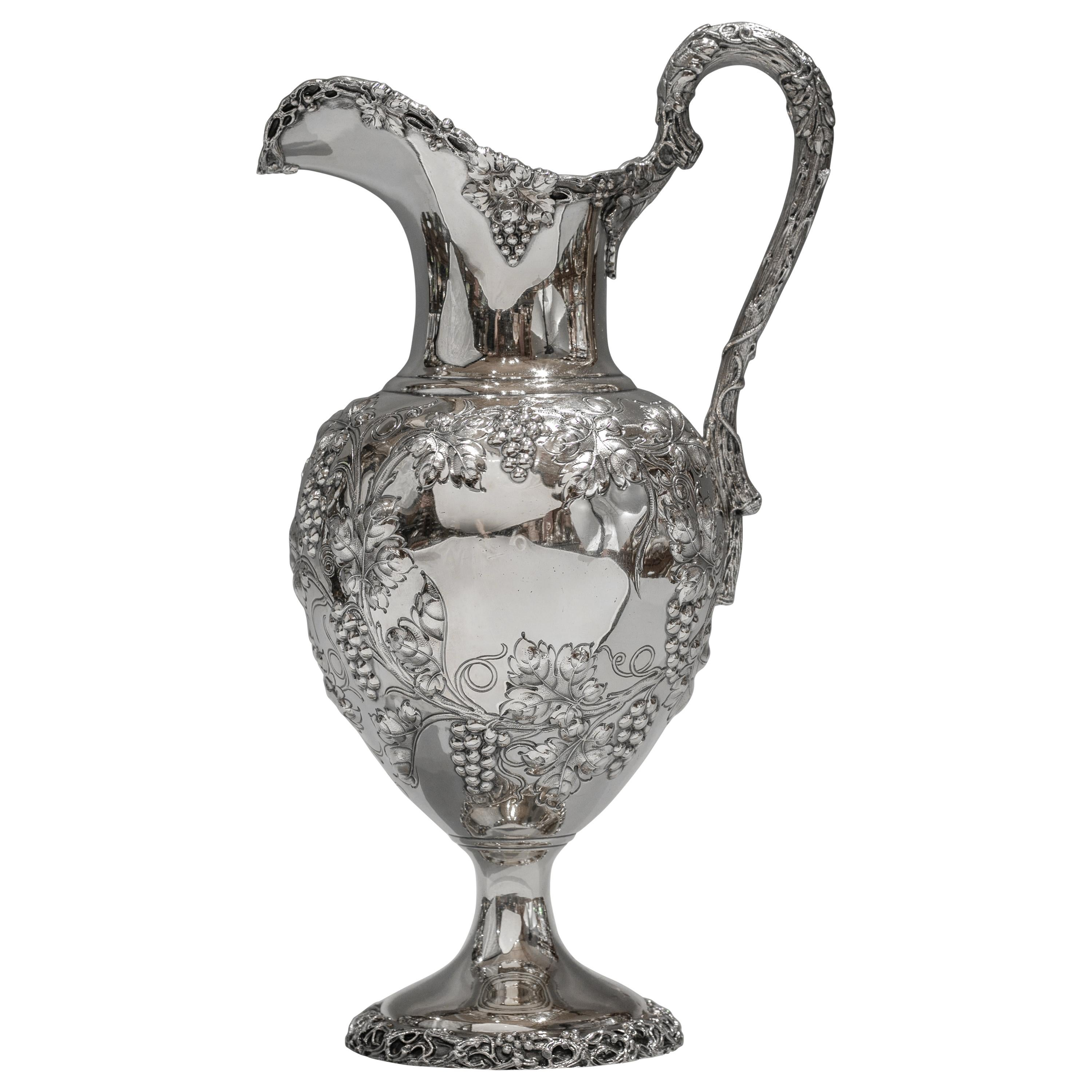 Large Sterling Silver Gilt Wine Pitcher, circa 1900