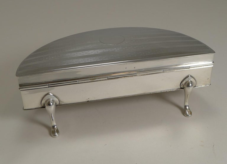 English Large Sterling Silver Jewelry Box by Charles S Green & Co. For Sale