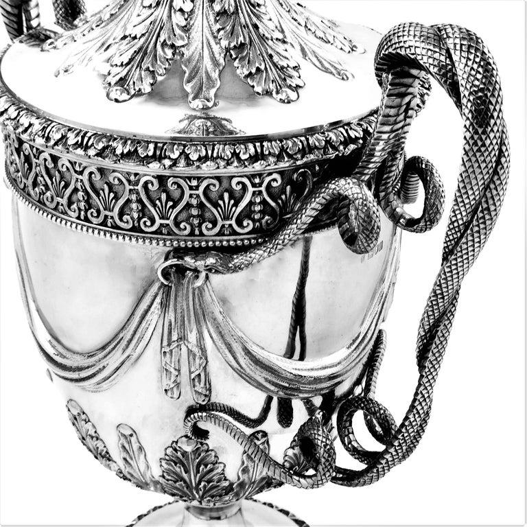 Large Sterling Silver Lidded Cup Trophy 1927 Snake Handles Vase Cooler For Sale 4