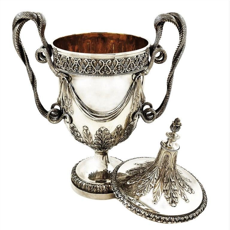 Large Sterling Silver Lidded Cup Trophy 1927 Snake Handles Vase Cooler For Sale 5