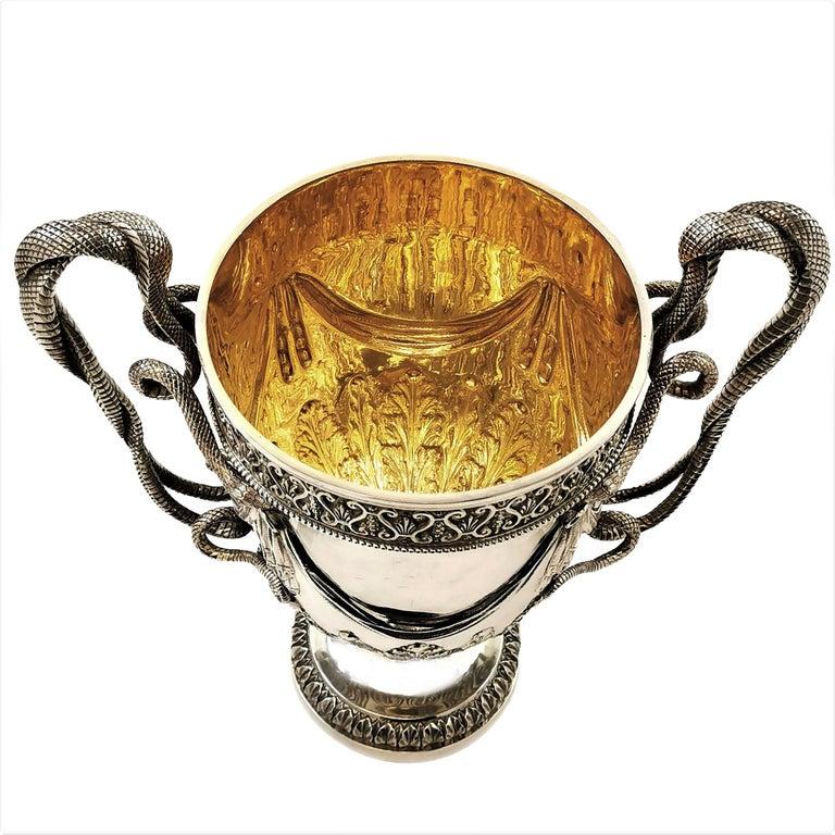 Large Sterling Silver Lidded Cup Trophy 1927 Snake Handles Vase Cooler For Sale 6