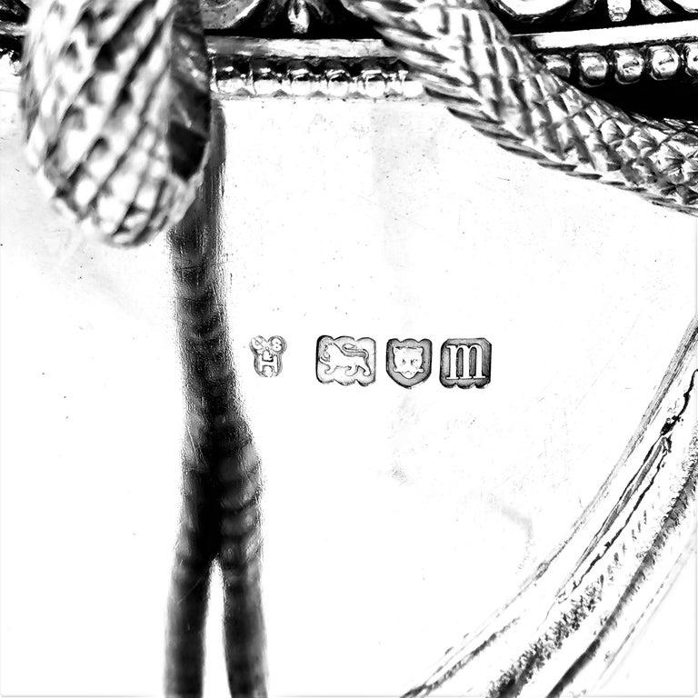 Large Sterling Silver Lidded Cup Trophy 1927 Snake Handles Vase Cooler For Sale 7