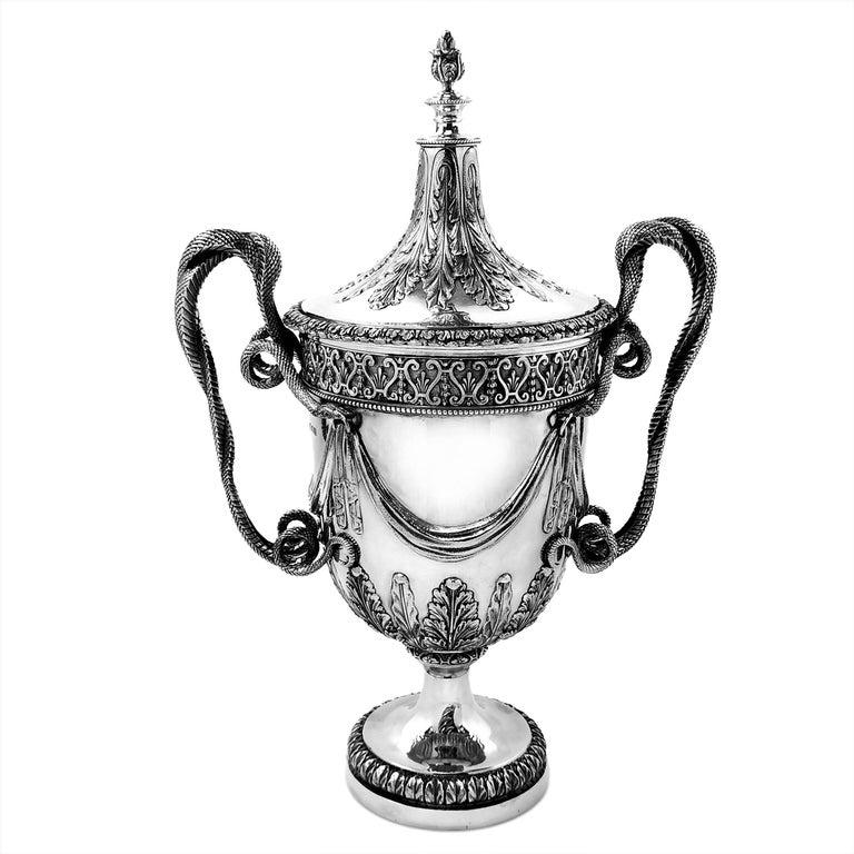 Regency Large Sterling Silver Lidded Cup Trophy 1927 Snake Handles Vase Cooler For Sale