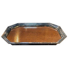 Large Sterling Silver Mounted Wood Tray, Italy, 1950s