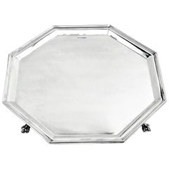 Large Sterling Silver Octagonal Salver 1948 Waiter Tray Platter Art Deco