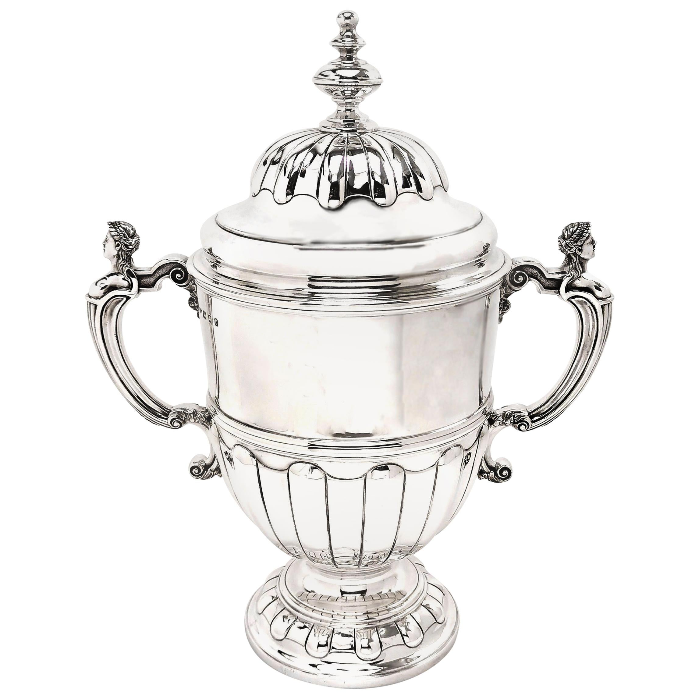 Large Sterling Silver Trophy Lidded Cup and Cover 1930 Champagne Cooler