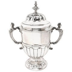 Large Sterling Silver Trophy Lidded Cup and Cover  1930