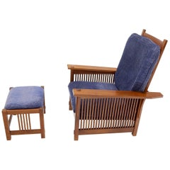 Large Stickley Cherry Reclining Chair and Ottoman