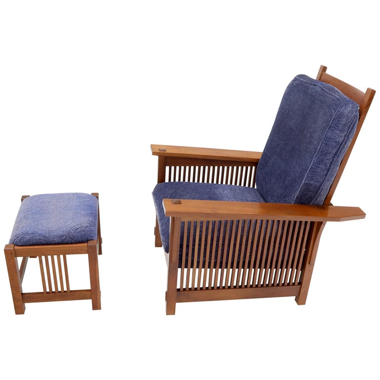 Large Stickley Cherry Reclining Chair and Ottoman For Sale