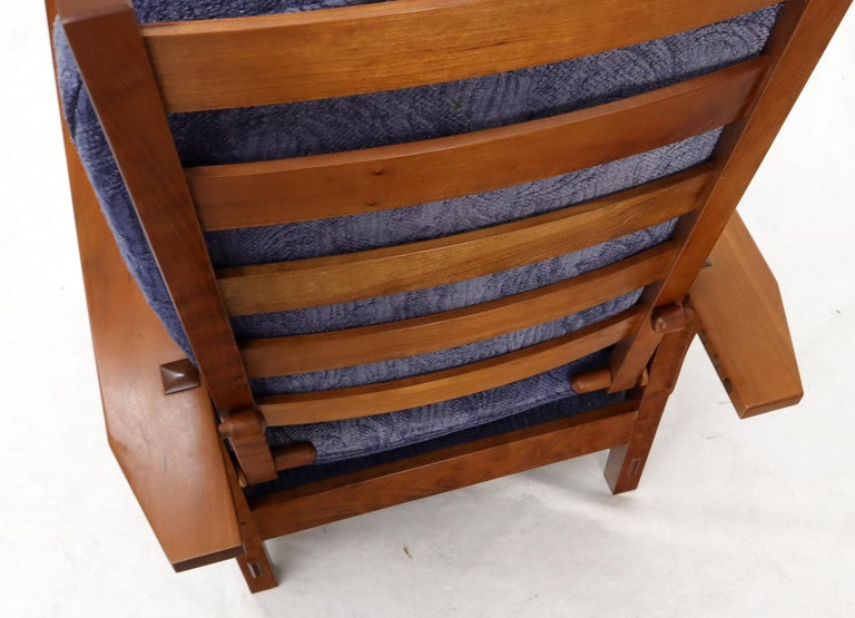 Arts and Crafts Large Stickley Cherry Reclining Chair and Ottoman For Sale