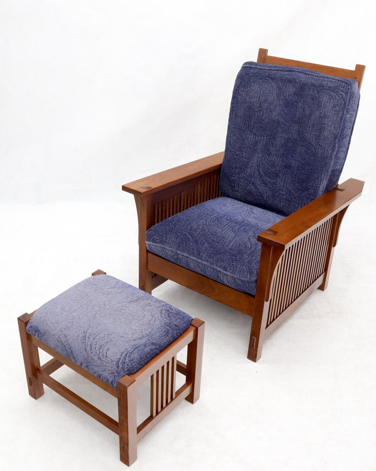 American Large Stickley Cherry Reclining Chair and Ottoman For Sale