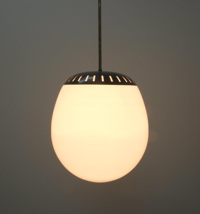 Mid-Century Modern Large Stilnovo Ball Pendant Lamp Opal Glass, circa 1950 For Sale