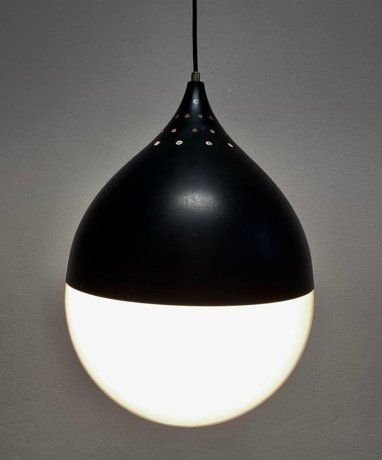 Lacquered Large Stilnovo Ball Pendant Lamp Opal Glass, circa 1950 For Sale