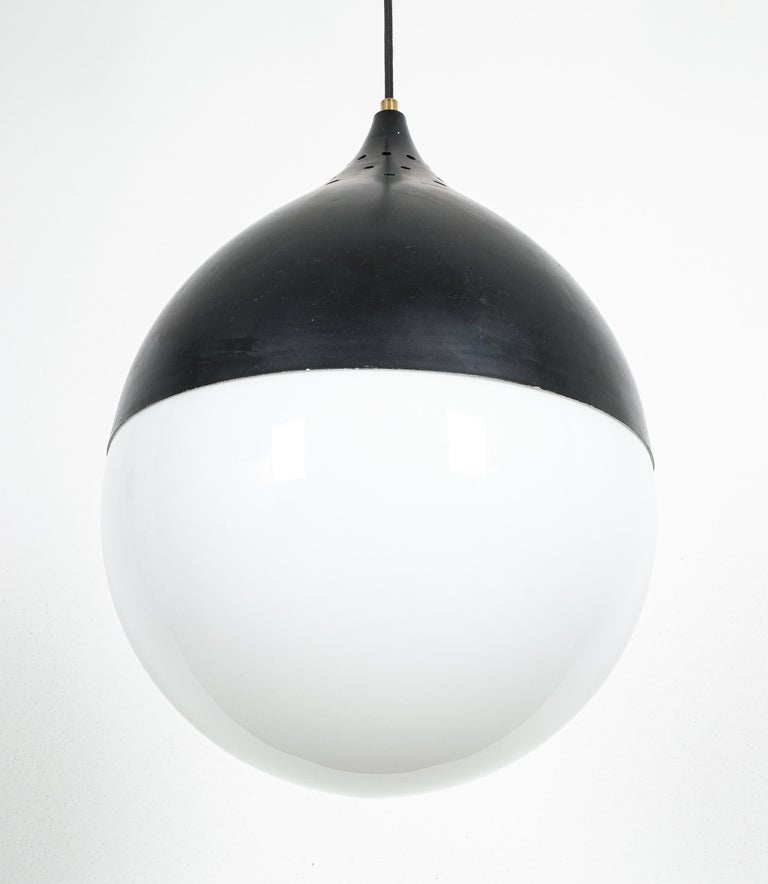 Large Stilnovo Ball Pendant Lamp Opal Glass, circa 1950 In Good Condition For Sale In Vienna, AT