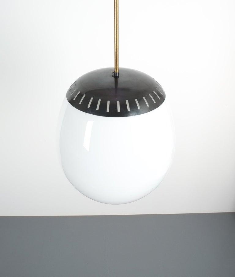 Mid-20th Century Large Stilnovo Ball Pendant Lamp Opal Glass, circa 1950 For Sale