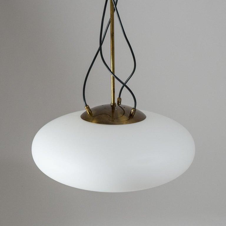 Large Stilnovo Modernist Glass and Brass Pendant, 1950s For Sale 6