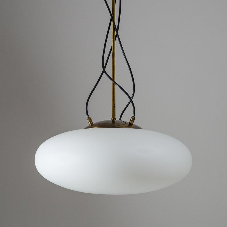 Lacquered Large Stilnovo Modernist Glass and Brass Pendant, 1950s For Sale