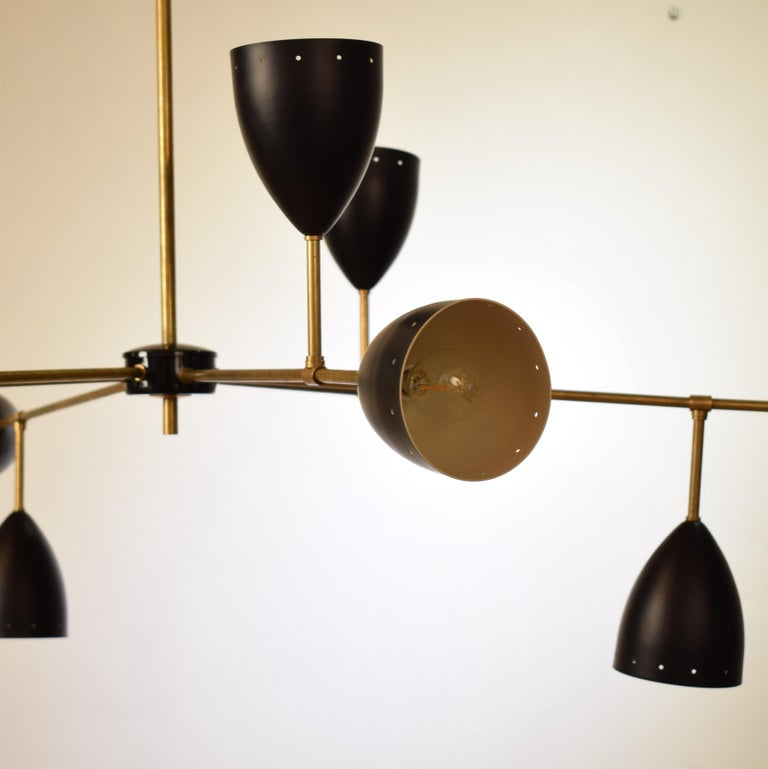 Mid-Century Modern Large Mid-Century Style Stilnovo Chandelier in Brass and Black Lacquered Metal For Sale