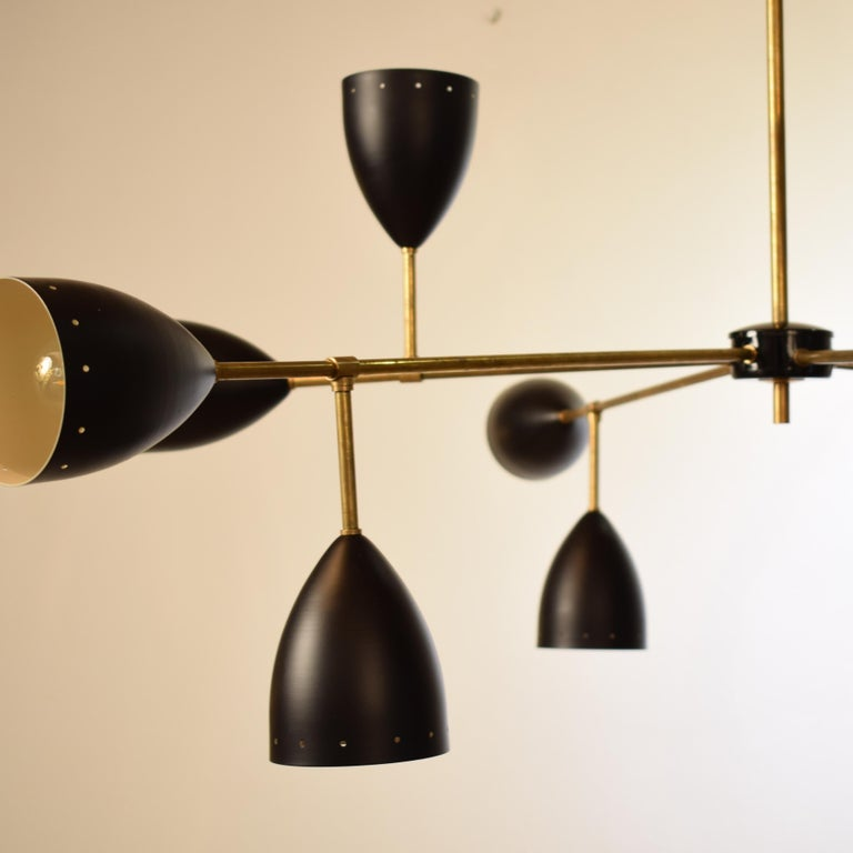 Contemporary Large Mid-Century Style Stilnovo Chandelier in Brass and Black Lacquered Metal For Sale