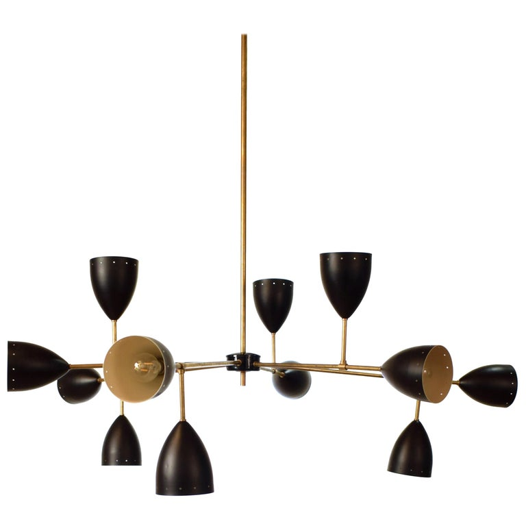 Large Mid-Century Style Stilnovo Chandelier in Brass and Black Lacquered Metal For Sale