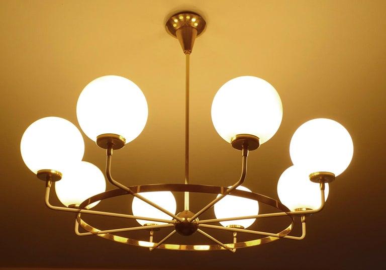 Large  Midcentury Italian Sputnik Brass Glass Chandelier, Stilnovo Gio Ponti Era For Sale 4