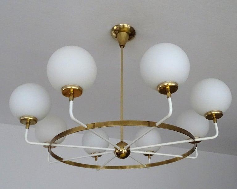 Large  Midcentury Italian Sputnik Brass Glass Chandelier, Stilnovo Gio Ponti Era For Sale 5