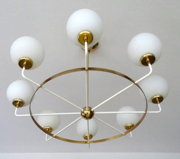 Large  Midcentury Italian Sputnik Brass Glass Chandelier, Stilnovo Gio Ponti Era For Sale 7