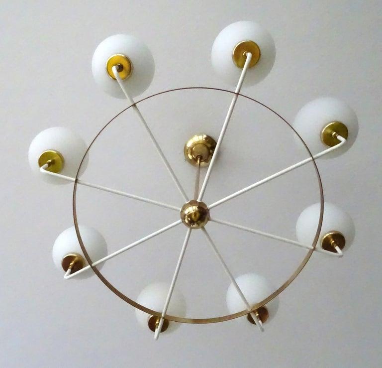 Large  Midcentury Italian Sputnik Brass Glass Chandelier, Stilnovo Gio Ponti Era For Sale 9
