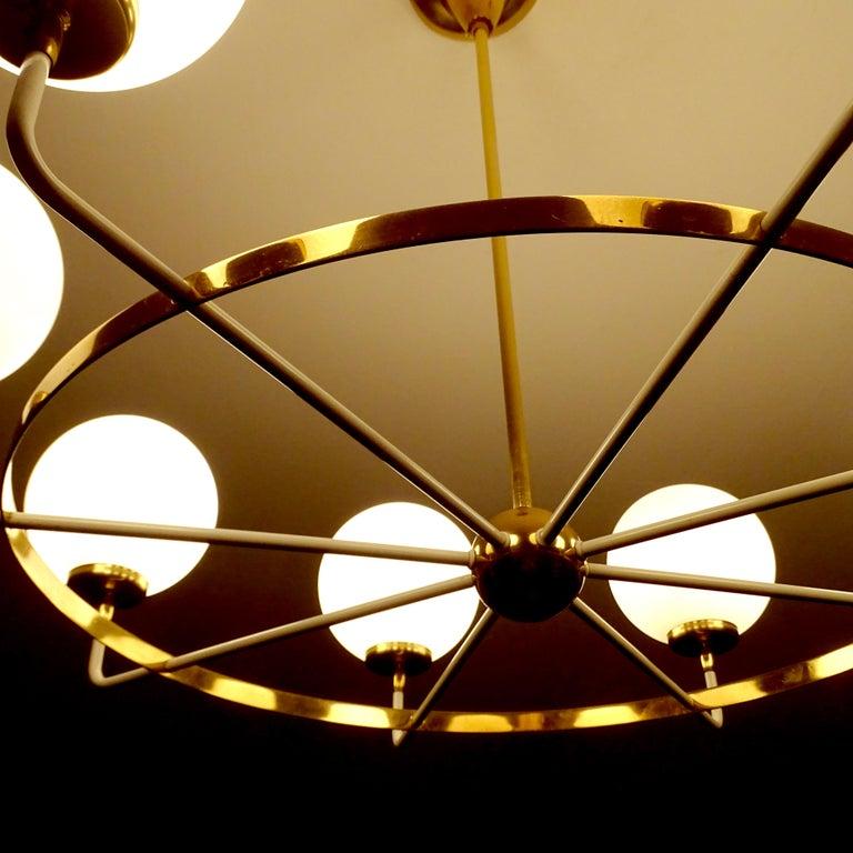 Large  Midcentury Italian Sputnik Brass Glass Chandelier, Stilnovo Gio Ponti Era For Sale 10