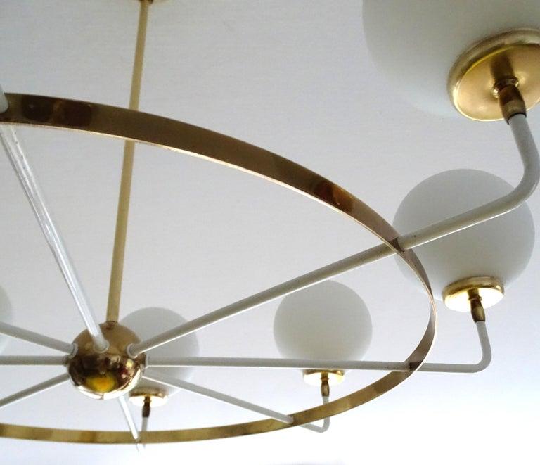 Large  Midcentury Italian Sputnik Brass Glass Chandelier, Stilnovo Gio Ponti Era For Sale 11